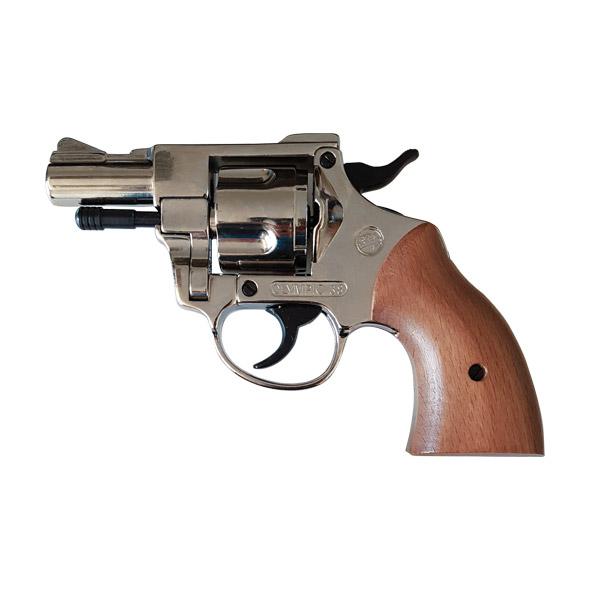 Pistola Revolver a Salve con Woden Grip Olimpyc  Calibro 380 Nichel